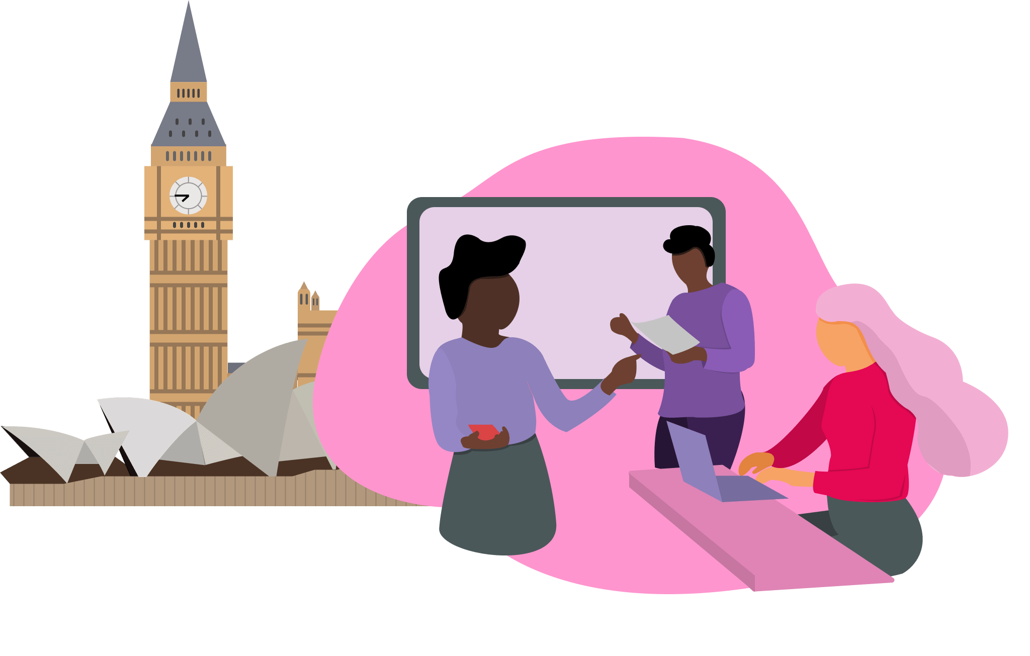 Illustration of staff and students working together around their computers with the Palace of Westminster and the Sydney Opera House in the background